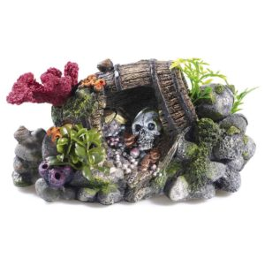Classic Treasure Barrel and Skull fish tank decor for saltwater and tropical fish