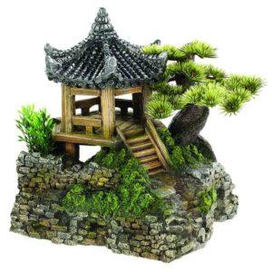 Classic Pagoda and Plants. Oriental fish tank decorations