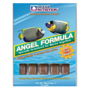 OceanOcean Nutrition Angel Formula 100g is the best frozen food for marine angelfish large or dwarf. It contains sponges which are a large part of the diet eaten by these fish in the wild.e