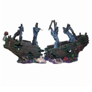 Hugo Ship 2 Halves sunken galleon aquarium ornament