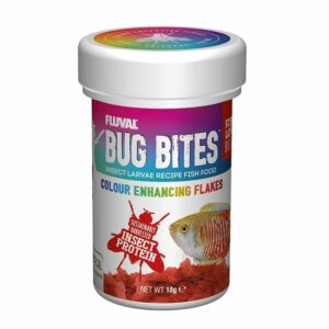 Fluval Bug Bites Colour Enhancing Flakes great food for tropical fish.
