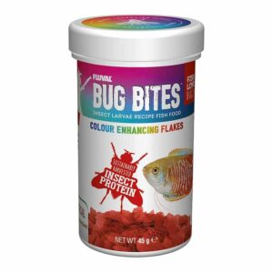 Fluval Bug Bites Colour Enhancing Flakes natural insect based food for your fish.