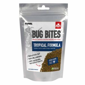 Fluval Bug Bites Tropical Granules 125g powerful colour enhancer and complete feed for tropical fish