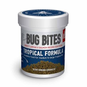 Fluval Bug Bites Tropical Granules 45g for colour enhancement is all auqarium and fish tank tropical fish - available at Abyss Aquatics UK