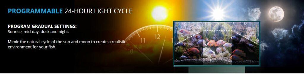 Aquasky Twenty four hour cycling gives a great dawn until dusk effect