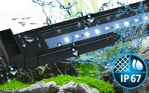 Fluval Aquasky Aquasky LED features an IP67 waterproof rating, which allows it to endure regular splashing and even temporary submersion should it be dropped in your aquarium accidentally